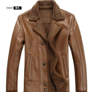 HOT 2019  Winter Male New fur coat One leather Jacket with thick fur Coat lapels  /M--XXXL