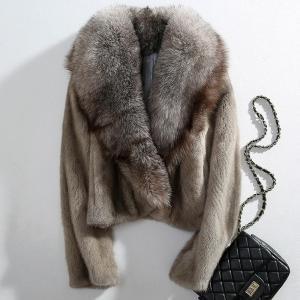 women luxury coats winter feminine overcoat natural mink fur coat Fur jacket ladies short jacket genuine silver fox fur collar