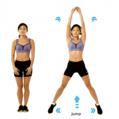 image of woman standing with arms down and legs together. another image of her jumping up, legs and feet apart and outward, arms overhead
