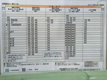 八王子城跡行きバス 時刻表