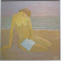 Aziz ABOU ALI, Nu sur la plage, 1959, Huile sur carton, Collection particulière