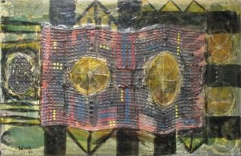 Larbi BELCADI, Sans titre, 1973, Technique mixte sur bois, 65 x 100 cm, Collection particulière