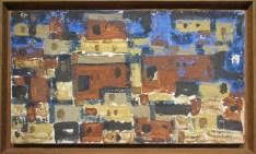 Ahmed Cherkaoui, Village du sud, 1960, Huile sur toile de jute, Collection particulière