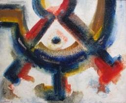 Ahmed CHERKAOUI, Le sceau des trois princes, 1967, Huile sur toile de jute, Collection particulière