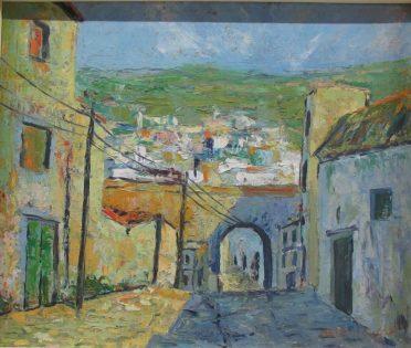 Mohammed Melehi, Sans titre, années 50, Huile sur toile, 45 x 49.5 cm, Collection particulière