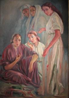 Meriem MEZIANE, Cinq femmes, trois debout et deux assises, 1950, Huile sur toile, Collection particulière