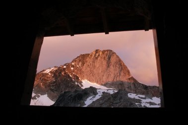 Bugaboo spire, from the Applebee camp outhouse.
