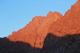 Crestone Peak in the last light of the day.