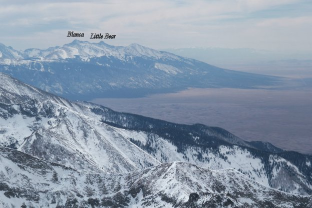 Little Bear and Blanca, and the mile-long ridge that connects them, from Crestone Peak.