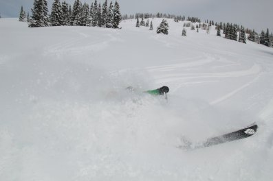 Bryce enjoying three thousand vertical feet of fresh powder.
