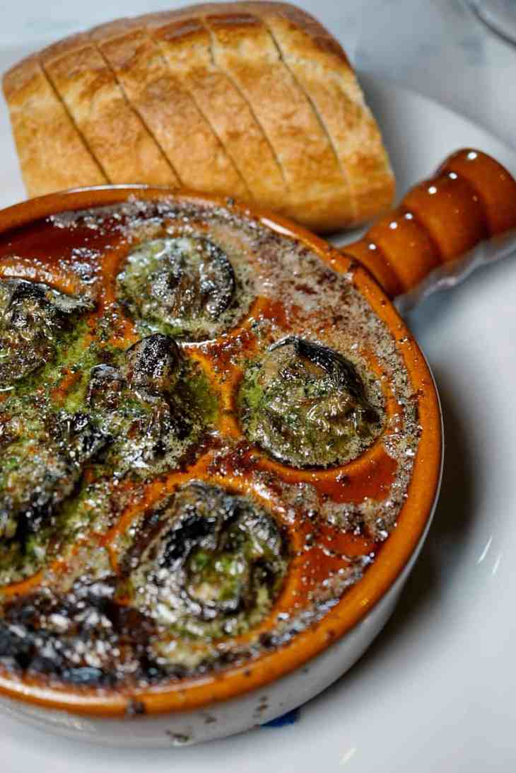 Escargot with baguette from Baltimore French Restaurant Chez Hugo in Baltimore