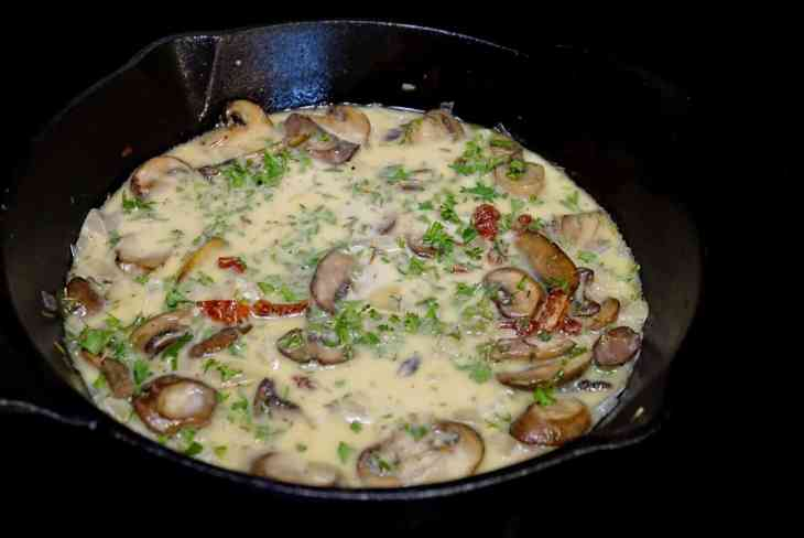 One Pan Skillet Chicken With Spinach Sun Dried Tomatoes and Creamy Mushroom Sauce
