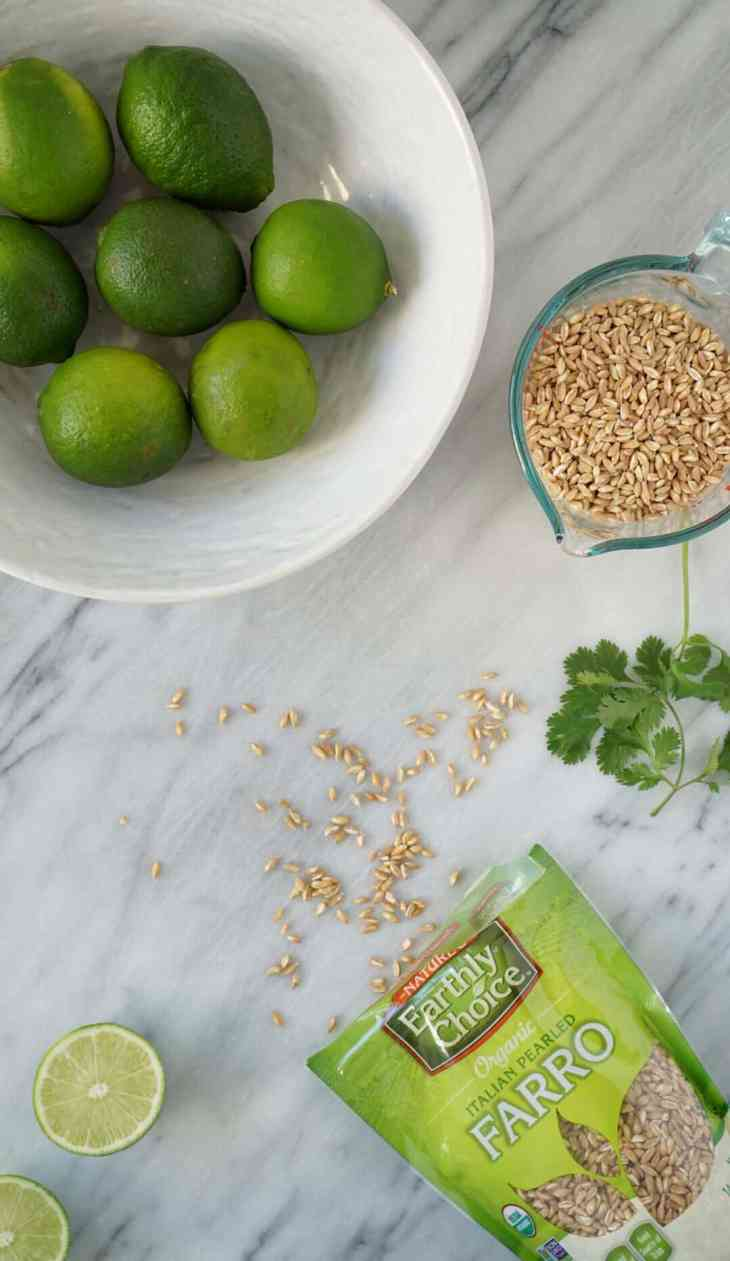 Cilantro lime farro ingredients on a marble slab