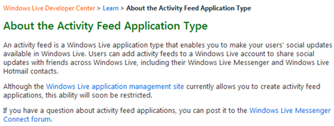 About the Activity Feed Application Type