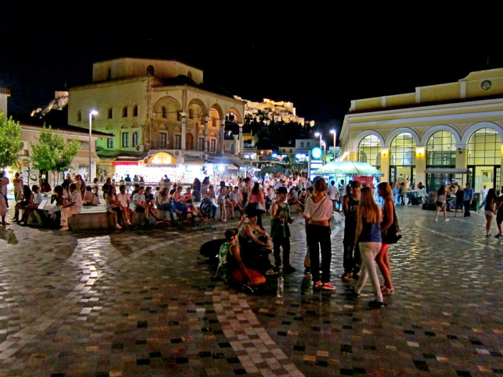 Athens busy at night