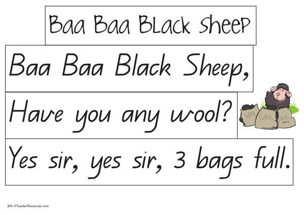 Baa Baa Black Sheep Nursery Rhyme K 3 Teacher Resources