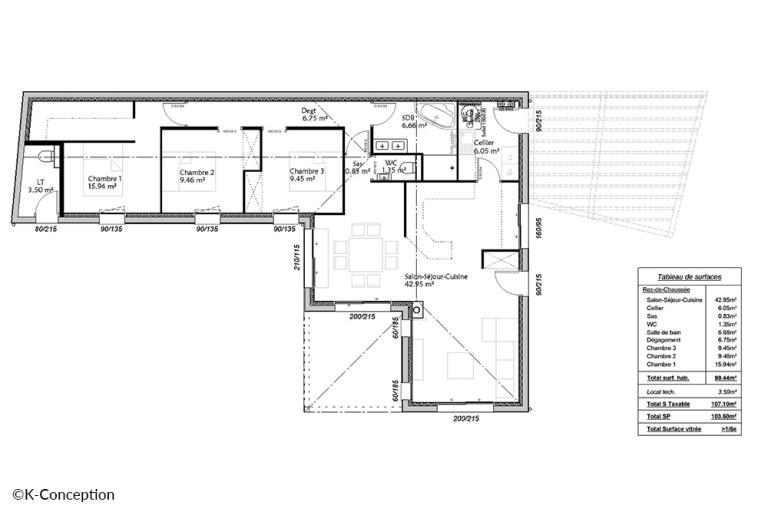 Plan maison 3 chambres Vendée