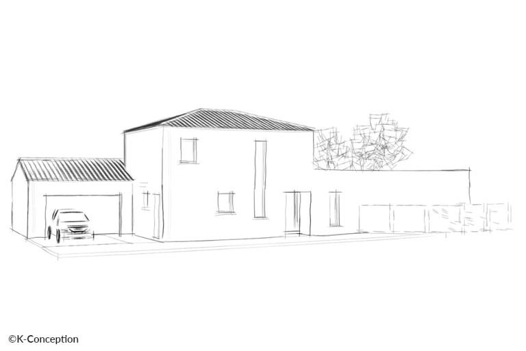 Croquis architecte d'une maison contemporaine à étage. Façade avant avec garage.