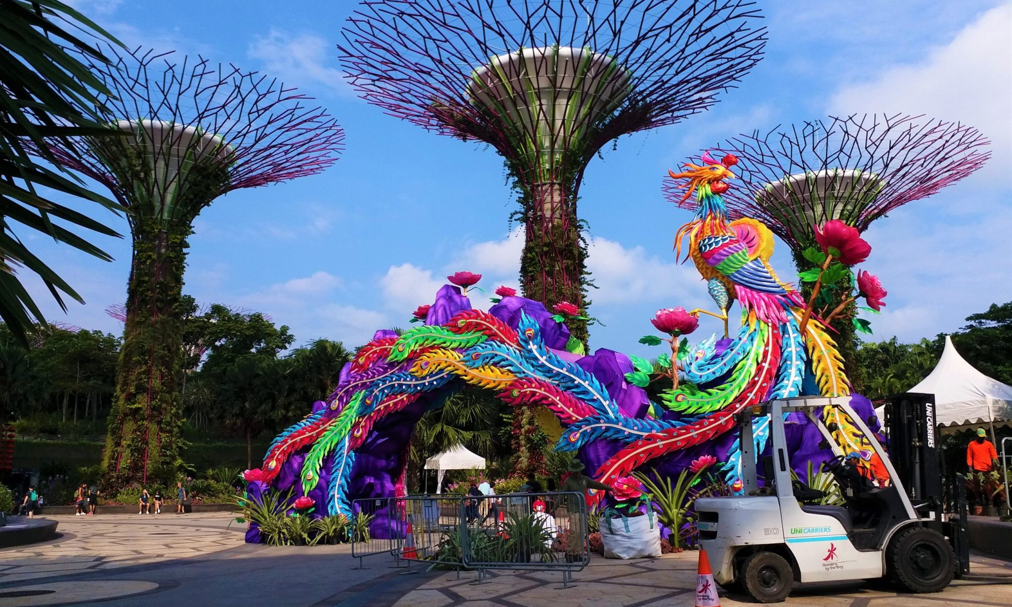 K in Motion Travel Blog. Petty Superheroes and Supertrees in Singapore. Bird and Supertrees at the Gardens By The Bay.