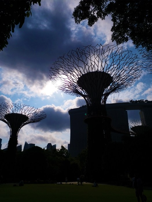 K in Motion Travel Blog. Superheroes and Supertrees in Singapore. Storm Rolling in at the Gardens By The Bay