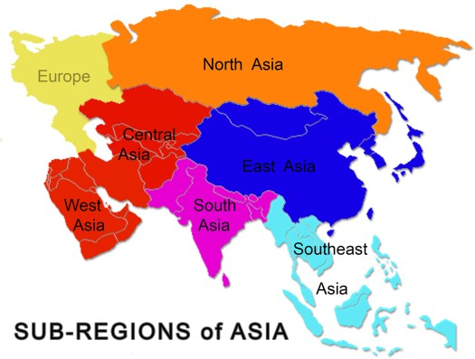 K in Motion Travel Blog. Asia Travel Page. Sub Regions of Asia Map