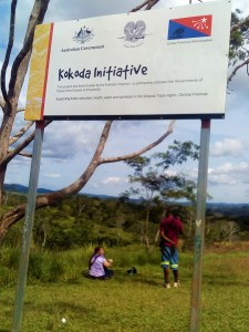 K in Motion Travel Blog. Petty Theft and Pragmatism in Papua New Guinea. Kokoda Inititave Sign