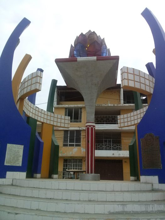K In Motion Travel Blog. Northern Peruvian Frontier Town of Tumbes Sculpture/Building in Central Tumbes, Peru