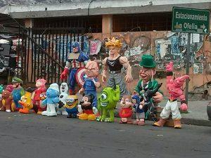 K in Motion Travel Blog. Ecuador - Journey to the Middle of the World. Superhero Paper Mache Figurines, Quito, Ecuador