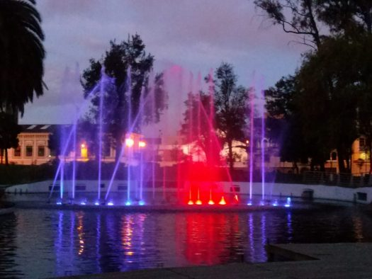 K in Motion Travel Blog. Lit Up Fountain, Parque La Carolina, Quito, Ecuador