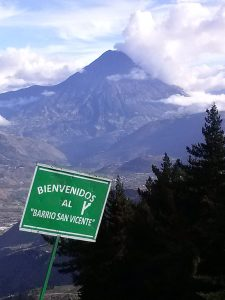 K in Motion Travel Blog. Baños - A Crazy Little Town in Ecuador. Welcome sign near Tungurahua Volcano, Outside of Banos, Ecuador