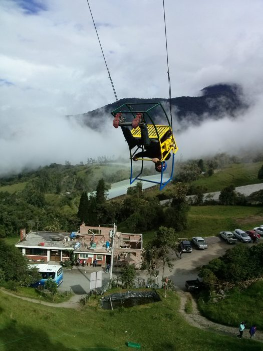 K in Motion Travel Blog. Baños - A Crazy Little Town in Ecuador. Swing to Heaven at Casa del Arbol, Ecuador