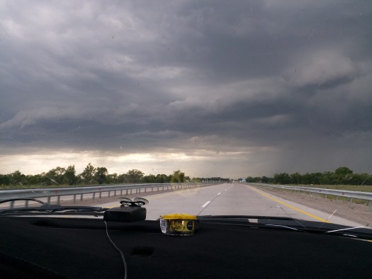K in Motion Travel Blog. Border to Almaty. Driving into a storm