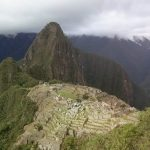 K in Motion Travel Blog. Adventures In Southern Peru. Ruins and Mountain from above at Machu Picchu, in the Andes, Peru