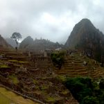K in Motion Travel Blog. Tree, Ruins and Mountain at Machu Picchu, in the Andes, Peru