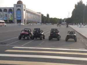 K in Motion Travel Blog. The Quirks of Eastern Kyrgyzstan. Bishkek City Centre. Motorised Toy Cars