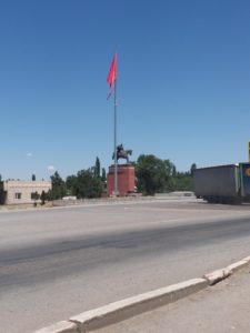 K in Motion Travel Blog. Silk Road to Southwestern Kyrgyzstan. Kara-Balta Roundabout. Start of the Osh-Bishkek Highway