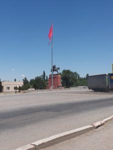 K in Motion Travel Blog. Silk Road to Southwestern Kyrgyzstan. Kara-Balta Roundabout. Start of the Osh-Bishkek Highway