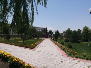 K in Motion Travel Blog. Unbelievable Uzbekistan. Green Spot With Statue