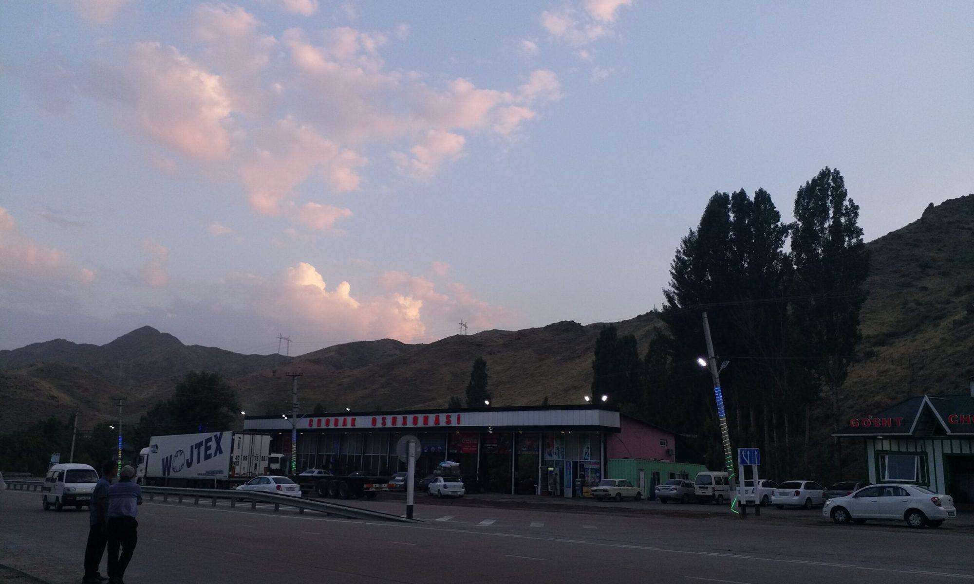 K in Motion Travel Blog. Unbelievable Uzbekistan. Mountains near Sunset