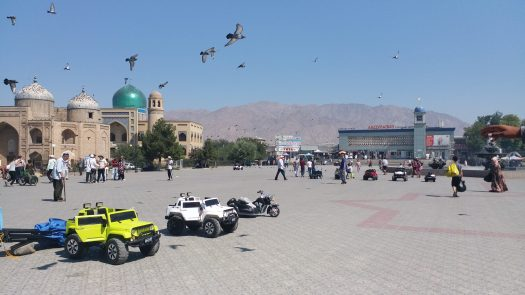 K in Motion Travel Blog. Tajikistan. Square between the Market and the Mosque in Khujand