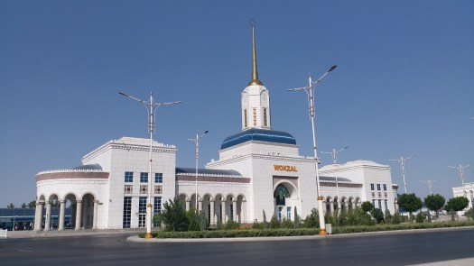 K in Motion Travel Blog. Travel to South Turkmenistan - Overly Impressive Capital to Caspian Sea Port. Ashgabat Train Station