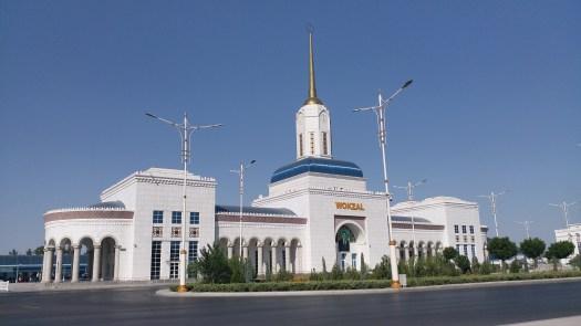 K in Motion Travel Blog. Travel to Turkmenistan - Overly Impressive Capital to Caspian Sea Port. Ashgabat Train Station
