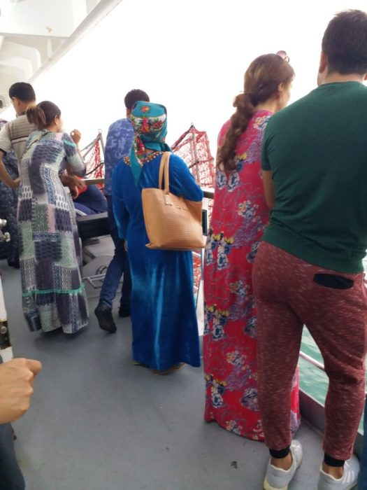 K in Motion Travel Blog. Turkmenbashi, to Baku - 3 Days on the Caspian Sea. Passengers Getting Ready to Leave the Boat