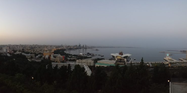 K in Motion Travel Blog. Beautiful Baku. View From the Top of the Hill. City and Sea at Sunset