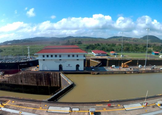 K in Motion Travel Blog. Party in Panama City. Panama Canal Minaflores Lock Gates