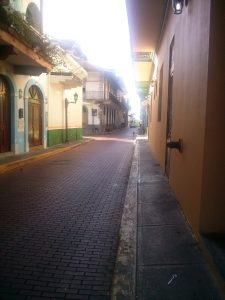 K in Motion Travel Blog. Party in Panama City. Casco Viejo Another Quiet Street.