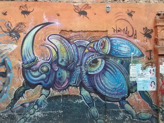 K in Motion Travel Blog. Contemporary Colombia Street Art. Bogota Beetle Mural