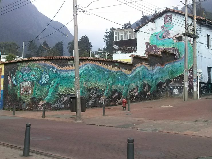 K in Motion Travel Blog. Contemporary Colombia Street Art. Bogota Dragon Mural