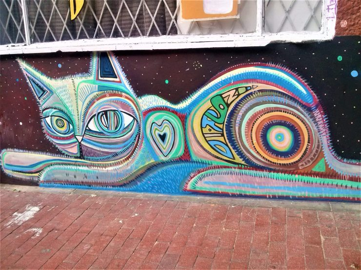 K in Motion Travel Blog. Contemporary Colombia Street Art. Bogota Colourful Cat Mural