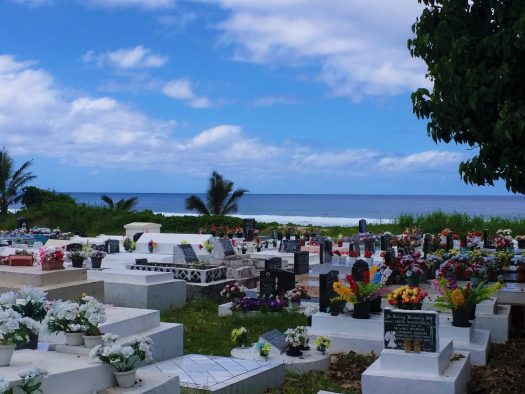 K in Motion Travel Blog. The Captivating Cook Islands. Graves with Coastal Views in Rarotonga